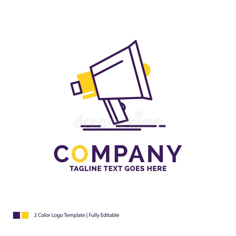 Företagsnamn Logo Design For Bullhorn, digitalt som marknadsför, massmedia stock illustrationer