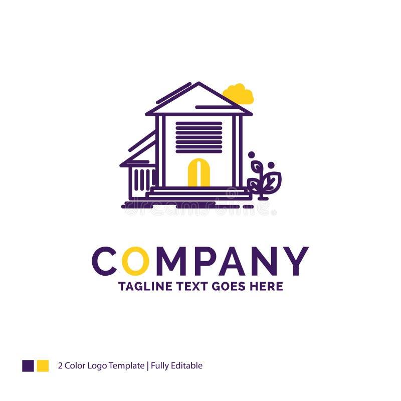 Företagsnamn Logo Design For Home, hus, lägenhet, byggnad, nolla stock illustrationer