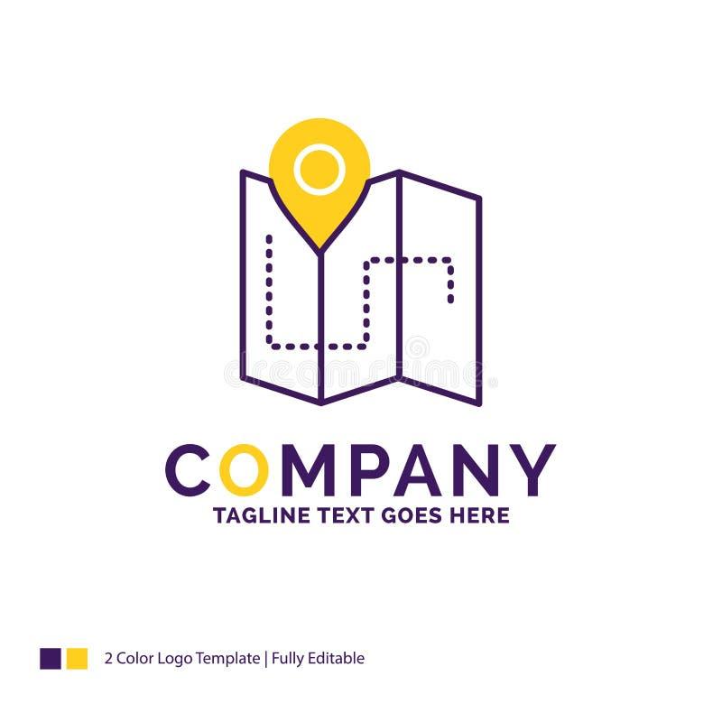 Företagsnamn Logo Design For Map som campar, plan, spår, läge vektor illustrationer