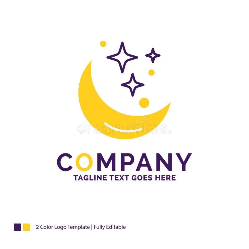 Företagsnamn Logo Design For Moon, natt, stjärna, väder, utrymme vektor illustrationer