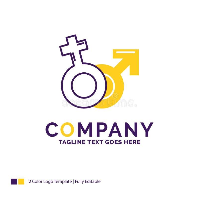 Företagsnamnet Logo Design For Gender, Venus, fördärvar, manligt, kvinnligt stock illustrationer