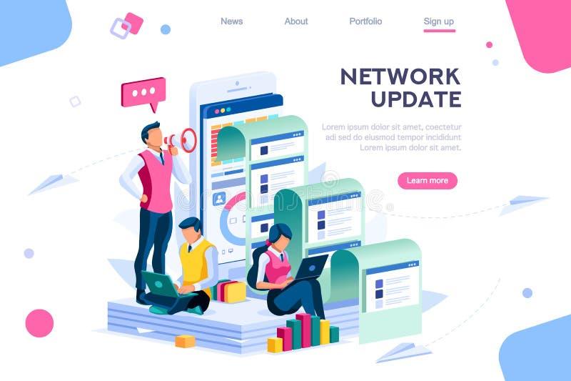 Företagssökande för uppdatering för informationsnätverk royaltyfri illustrationer