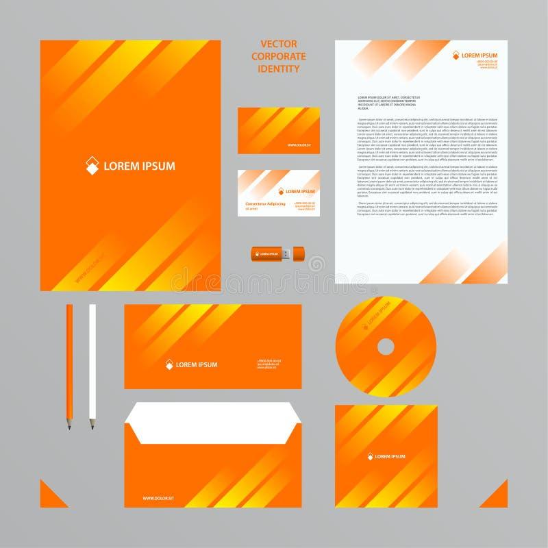 Företagsstiluppsättningen i apelsin tonar med den vita genomskinliga lutningen i linjerna royaltyfri illustrationer