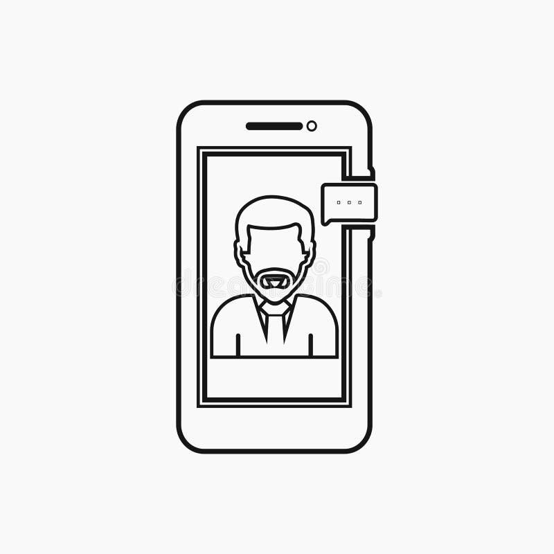 Företagssupportikon online med kvinnlig symbol och mobil symbol vektor EPS för linjeformat royaltyfri illustrationer