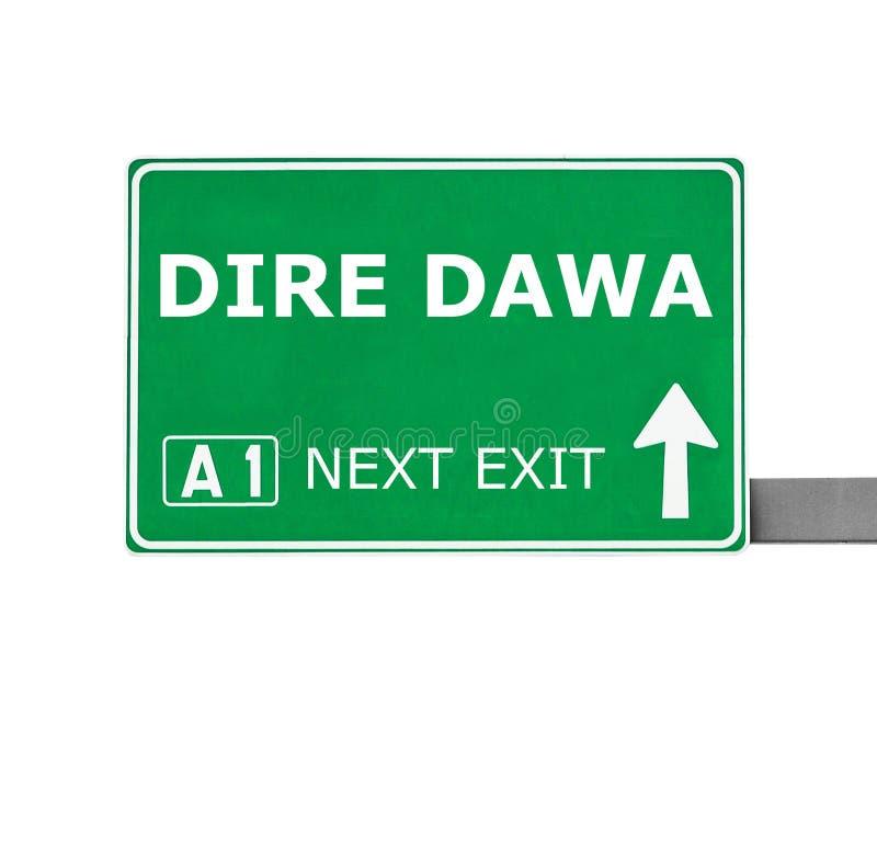 FÖRFÄRLIGT DAWA vägmärke som isoleras på vit royaltyfri foto