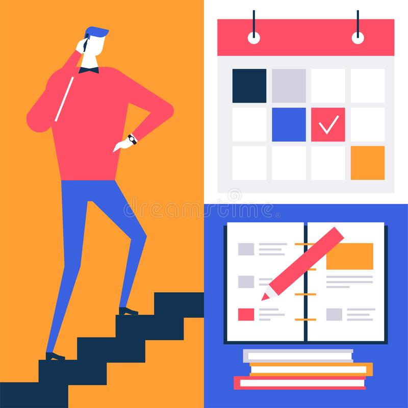 Förfallet datum - färgrik illustration för plan designstil stock illustrationer