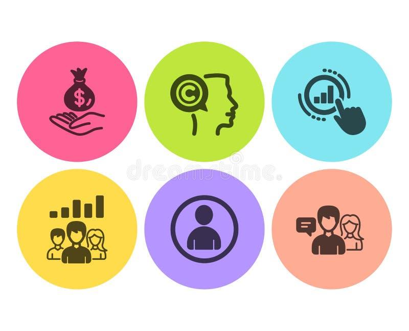 Författare-, teamworkresultat och Avatarsymbolsuppsättning Inkomstpengar, grafdiagram och talande tecken för folk vektor royaltyfri illustrationer