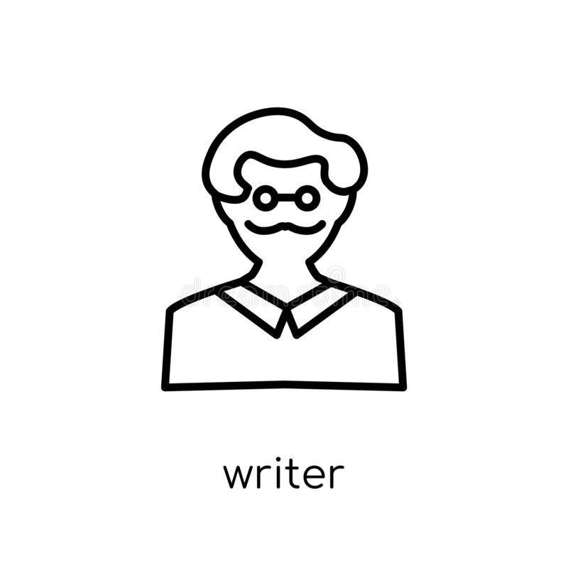 författaresymbol Moderiktig modern plan linjär vektorförfattaresymbol på whi royaltyfri illustrationer