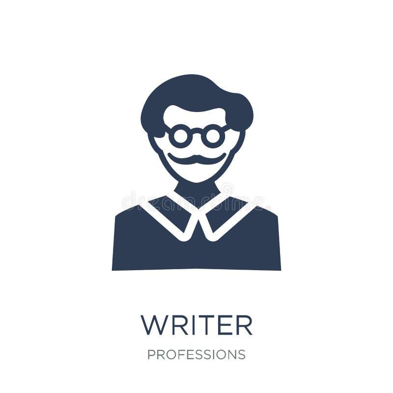 författaresymbol Moderiktig plan vektorförfattaresymbol på vit bakgrund royaltyfri illustrationer