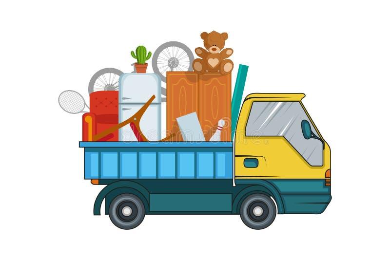 Förflyttningsservice flytta sig för begrepp Lastlastbilen transporterar Illustration för leveransfraktlastbil Transportföretag royaltyfri illustrationer