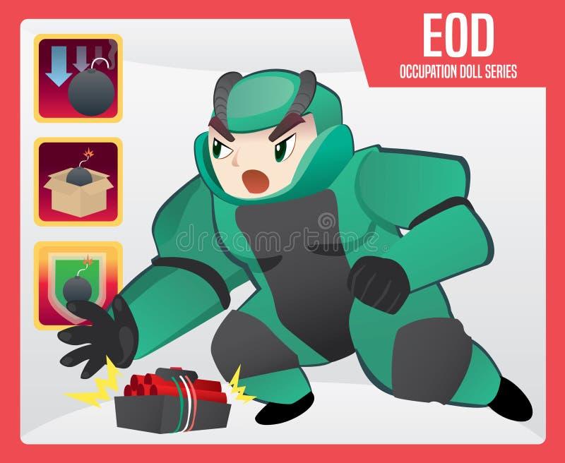 Förfogande för explosivt artilleri (EOD) stock illustrationer