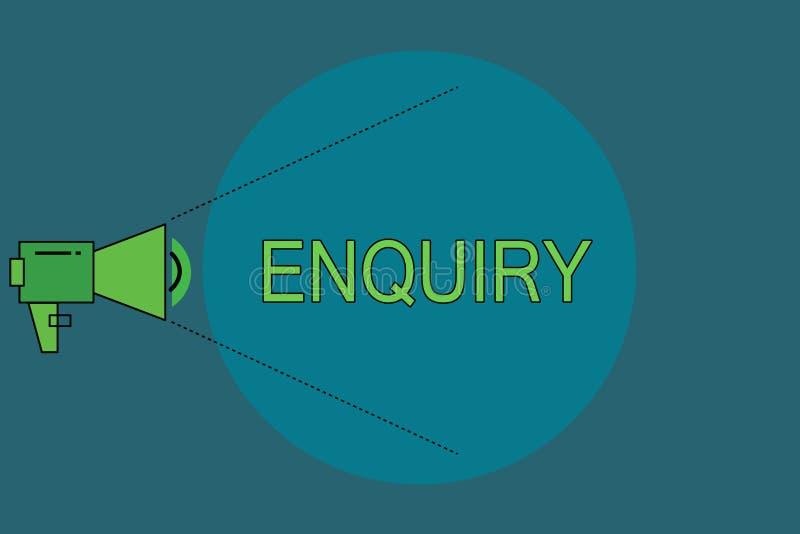 Förfrågning för ordhandstiltext Affärsidéen för att fråga för officiell utredning för information upptäcker faktumförfrågning stock illustrationer