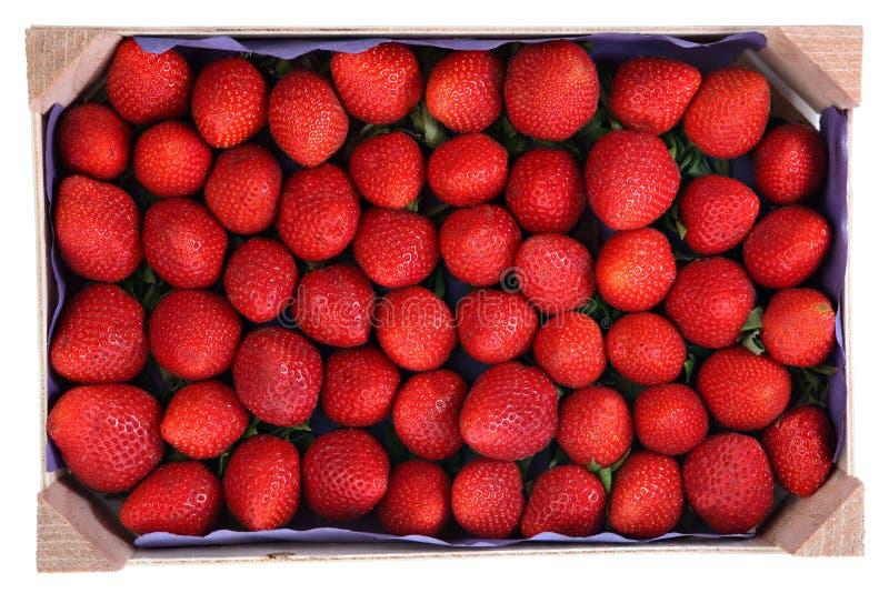 Förgänglig produkt, trämagasin med jordgubbar arkivbild