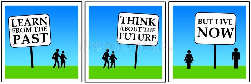 Förgången framtid nu stock illustrationer