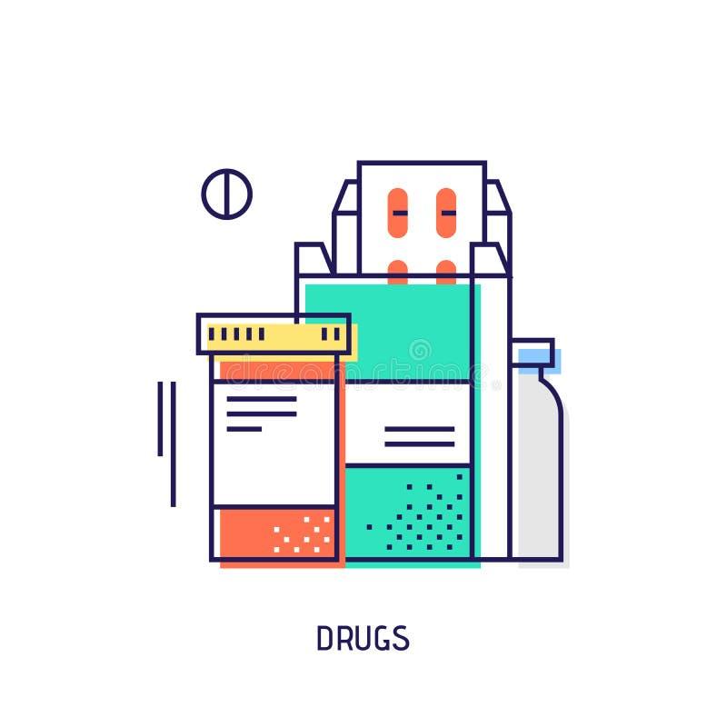 förgiftar pills Tunn linje symbol för sockersjukavektor royaltyfri illustrationer