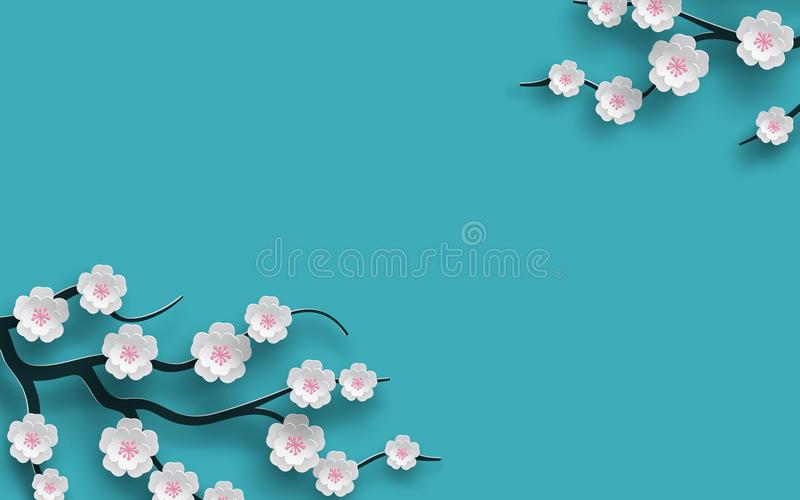 Förgrena sig blom- bakgrund dekorerade blommande körsbärsröda blommor, den ljusa blåa bakgrunden för design för säsong för vårtid stock illustrationer