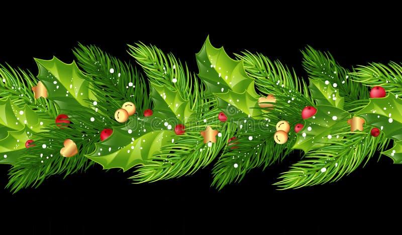 Förgrena sig den sömlösa girlanden för jul med gran, järnek, bär, b stock illustrationer