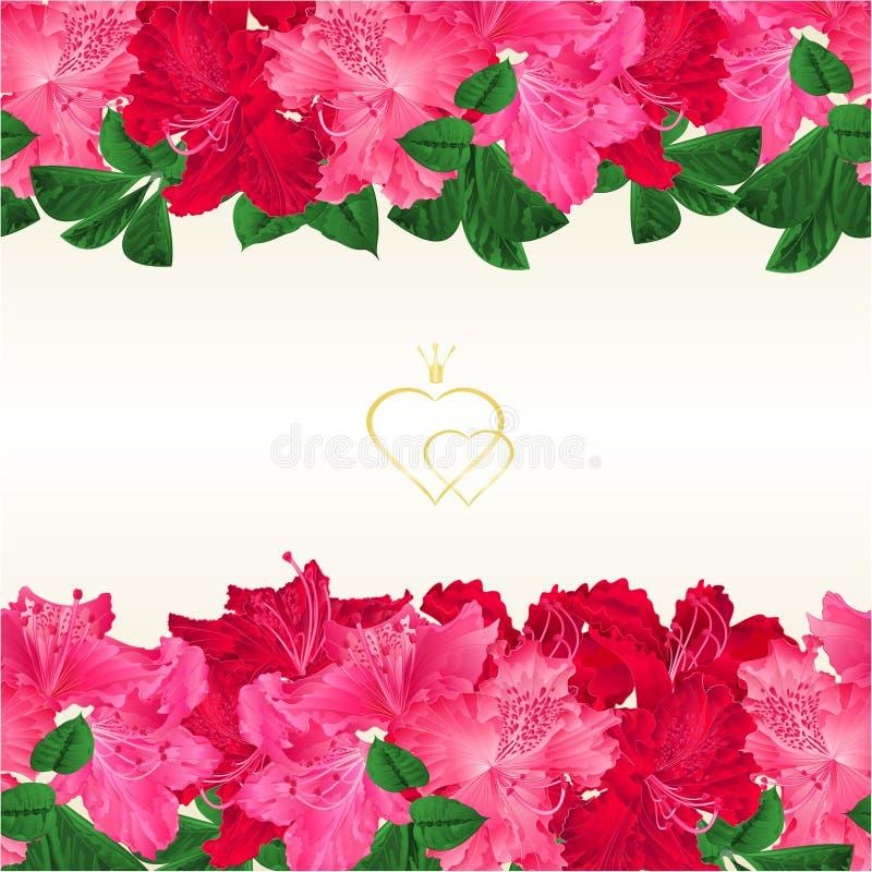 Förgrena sig horisontalsömlös bakgrund för den blom- gränsen med att blomma den rosa och röda illustrationen för blommarhododendr stock illustrationer