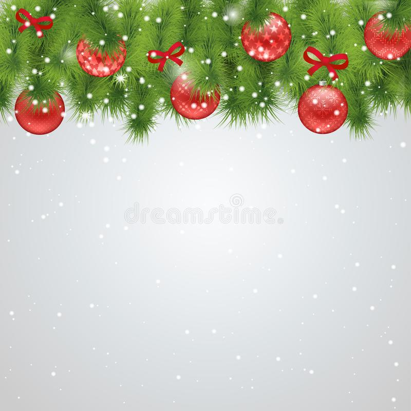 Förgrena sig klumpa ihop sig röd bakgrund för jul med gran och royaltyfri illustrationer