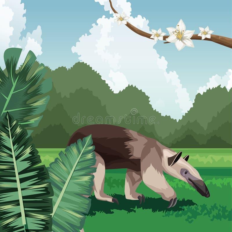 Förgreningen Anteater - blommor, tropisk fauna och flora vektor illustrationer