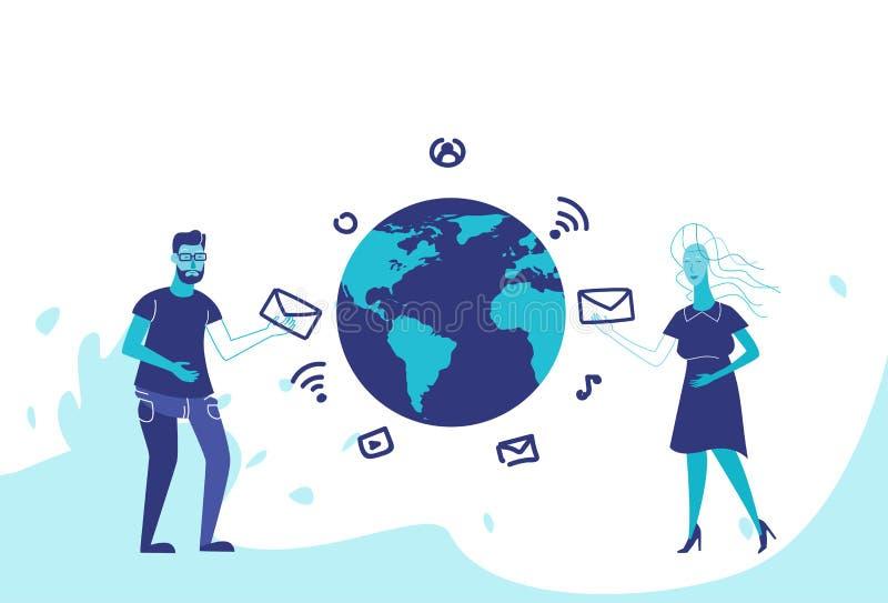 Förhållanden för international för kvinna för man för begrepp för kommunikation för pratstund för global social anslutning för ma royaltyfri illustrationer