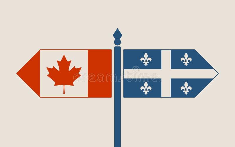Förhållanden mellan Kanada och Quebec stock illustrationer