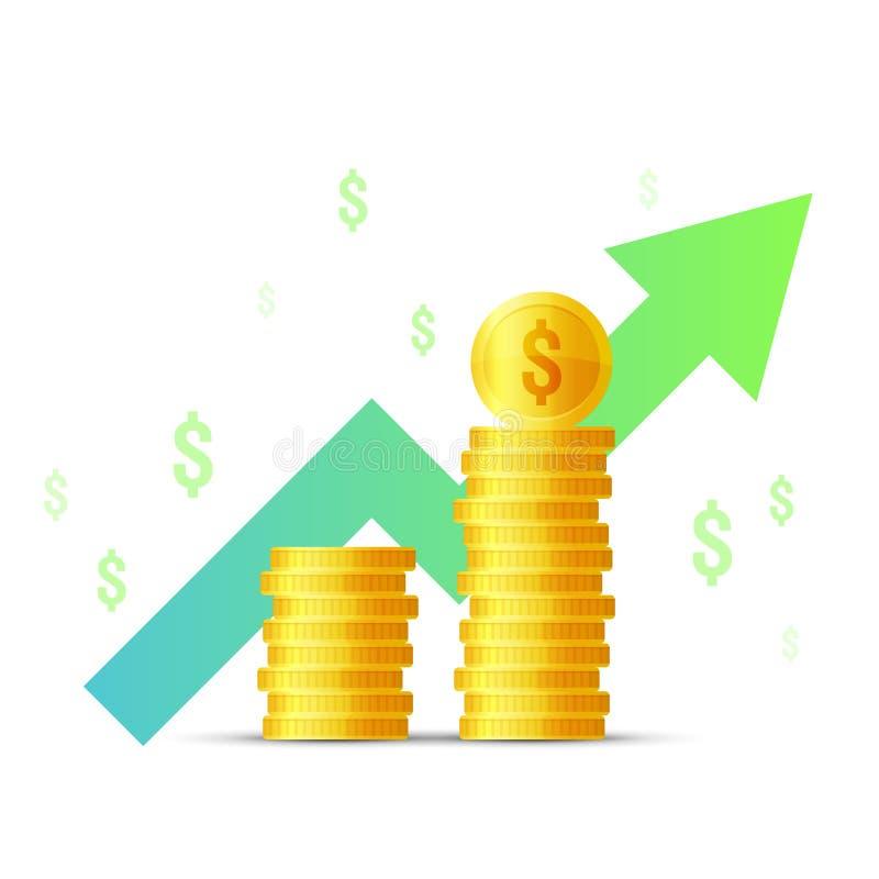 Förhöjning för inkomst för symbol för vektorillustrationlägenhet, pengartillväxt, finansstatistikrapport, investeringproduktivite stock illustrationer