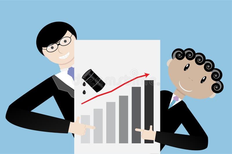Förhöjning för olja för affärslagpresentation övre stock illustrationer