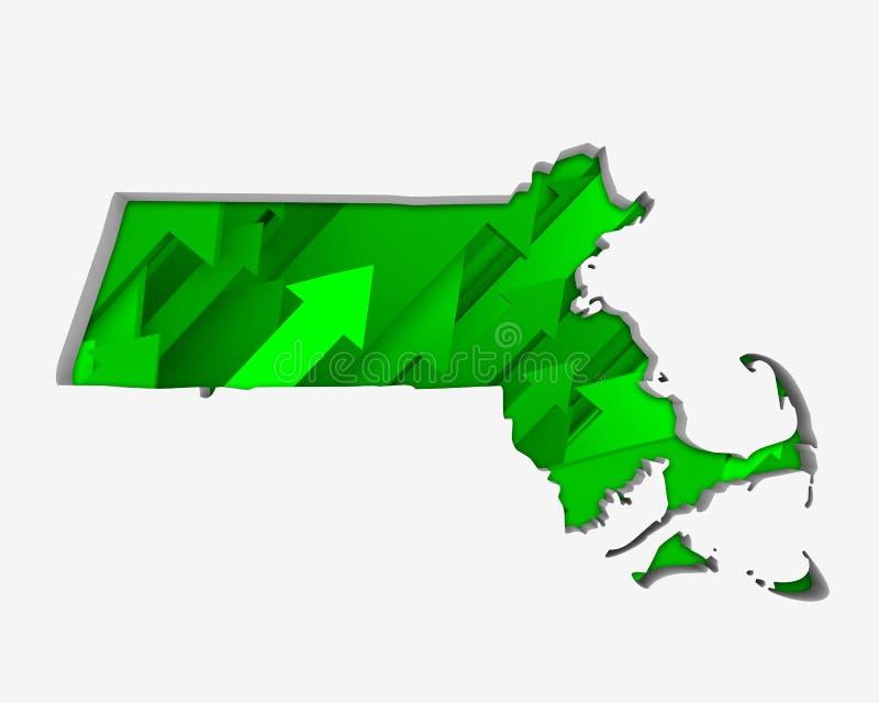 Förhöjning för tillväxt för översikt för Massachusetts MORpilar på löneförhöjningen 3d Illustrat vektor illustrationer