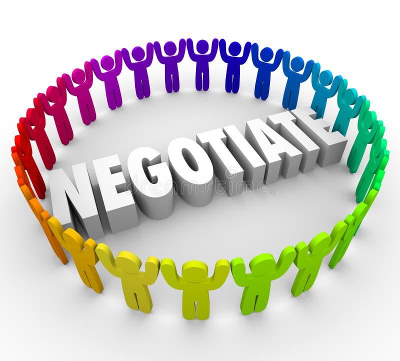 Förhandla kompromissen för folk som 3d diskuterar överenskommelsekonsensusen Ap royaltyfri illustrationer