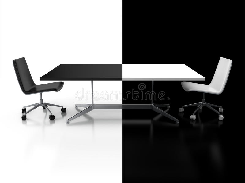 Förhandlingar begrepp för konfrontation 3d stock illustrationer