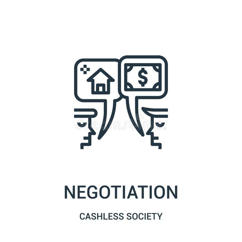 förhandlingsymbolsvektor från cashless samhällesamling Tunn linje illustration för vektor för förhandlingöversiktssymbol royaltyfri illustrationer