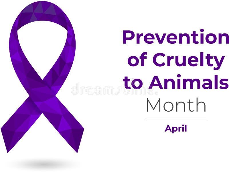 Förhindrande av grymhet till det purpurfärgade medvetenhetbandet för djur vektor illustrationer
