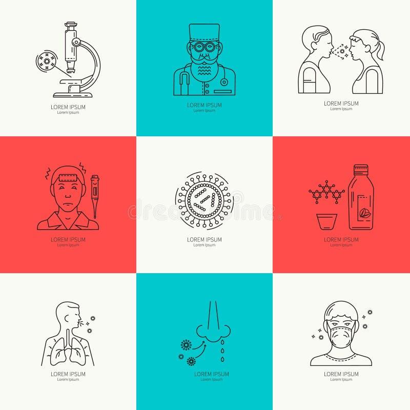 Förhindrande av influensalinjen symbol royaltyfri illustrationer