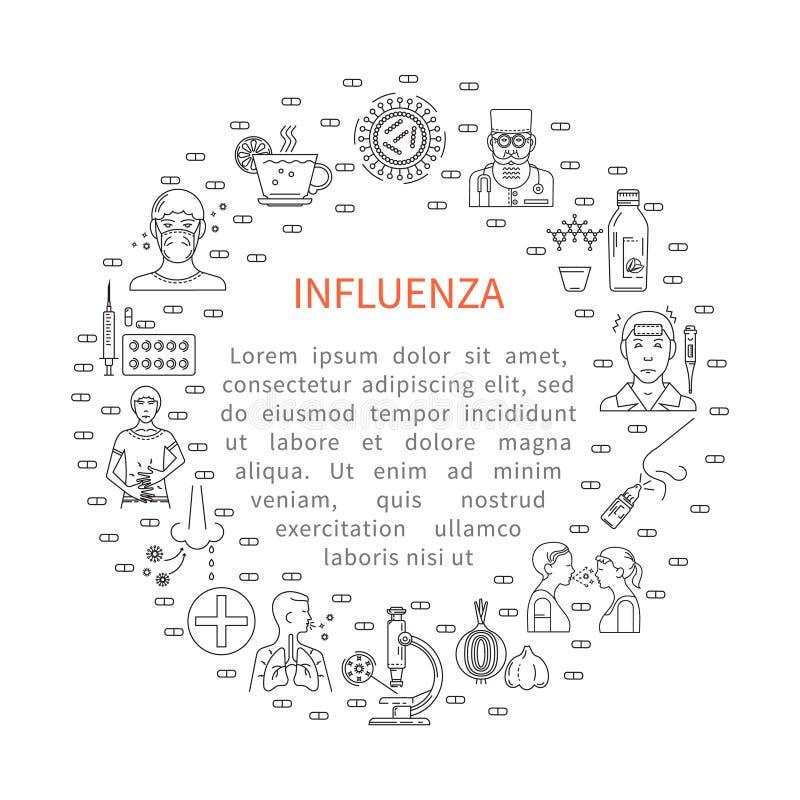 Förhindrande av influensarundabanret royaltyfri illustrationer