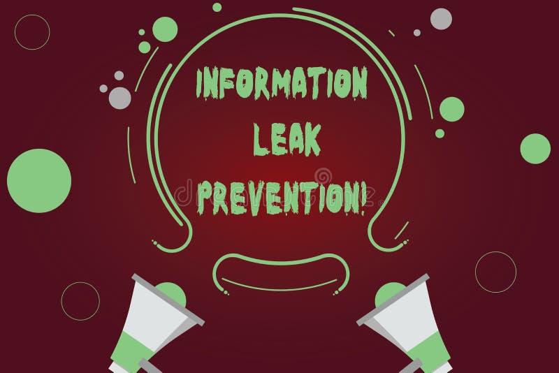 Förhindrande för läcka för information om handskrifttexthandstil Begreppsbetydelse som förhindrar kritisk information till utflöd stock illustrationer