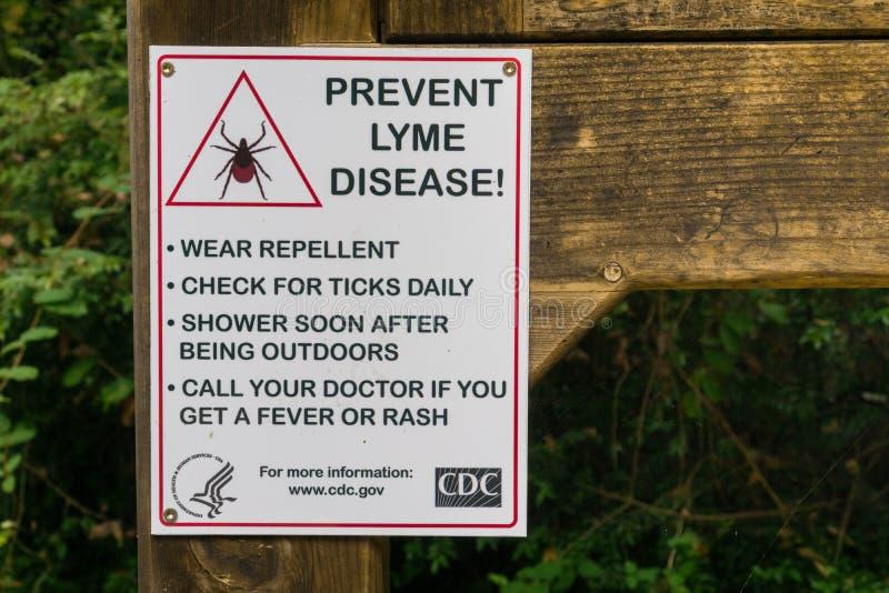 ` Förhindrar tecknet och vägledning för ` för den Lyme sjukdomen royaltyfri bild