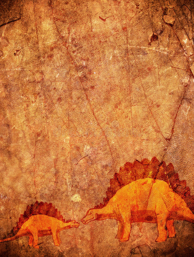 Förhistorisk bakgrund med dinosaurien stock illustrationer