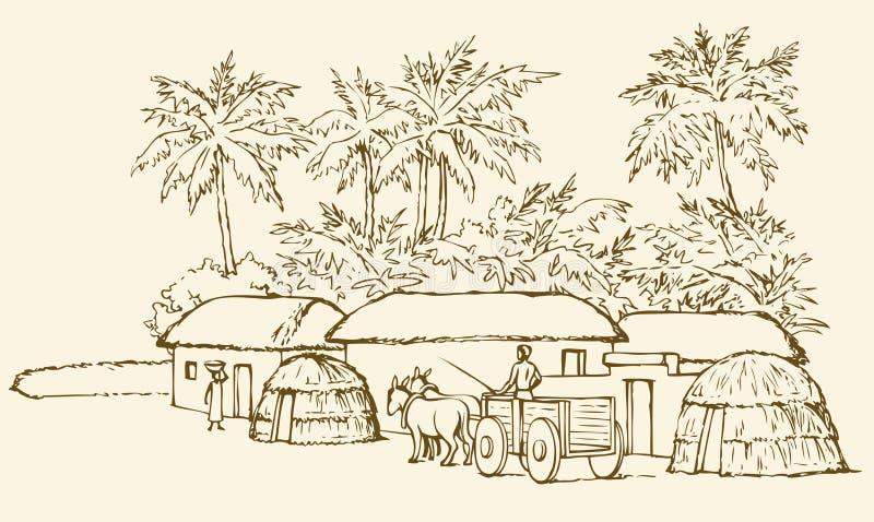 förhistorisk bosättning bakgrund som tecknar den blom- gräsvektorn stock illustrationer