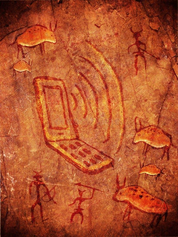 förhistorisk grottamålarfärg stock illustrationer