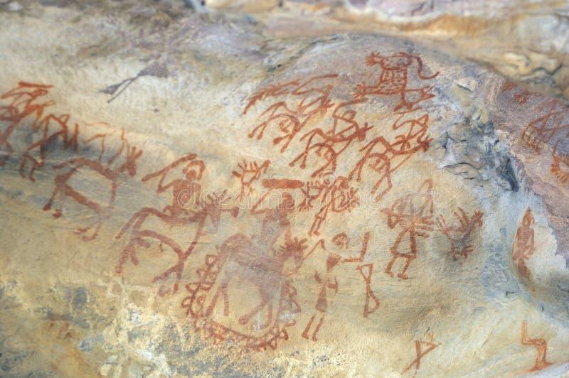 Förhistorisk grottamålning i Bhimbetka - Indien. arkivbilder