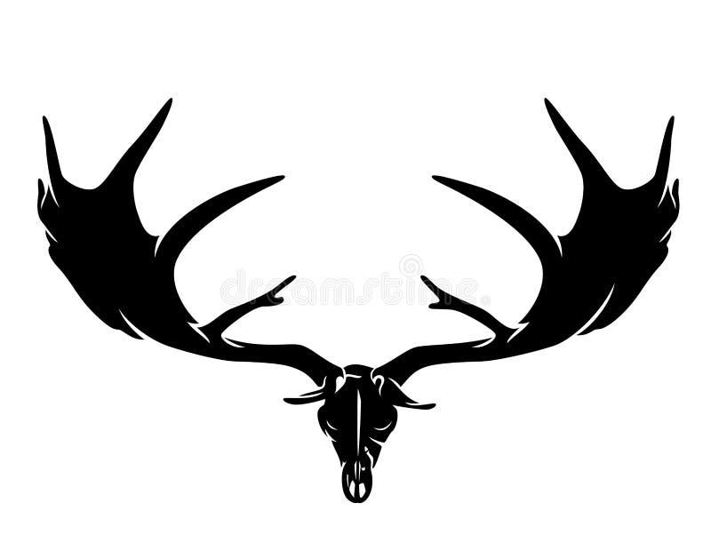 Förhistorisk jätte- hjortskalle med horn på kronhjort vektor illustrationer