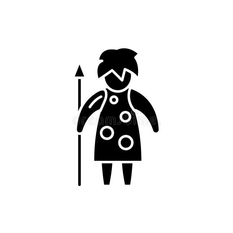 Förhistorisk mansvartsymbol, vektortecken på isolerad bakgrund Förhistoriskt manbegreppssymbol, illustration stock illustrationer