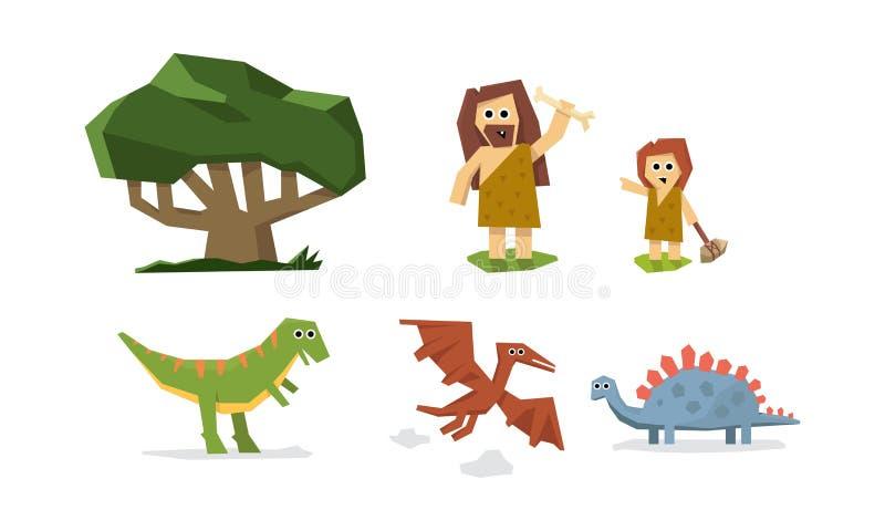 Förhistorisk stenålder, gullig geometrisk primitiv grottaman, unge och dinosaurievektorillustration royaltyfri illustrationer