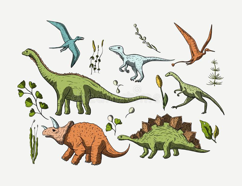 Förhistorisk uppsättning för vektordino symbol stock illustrationer