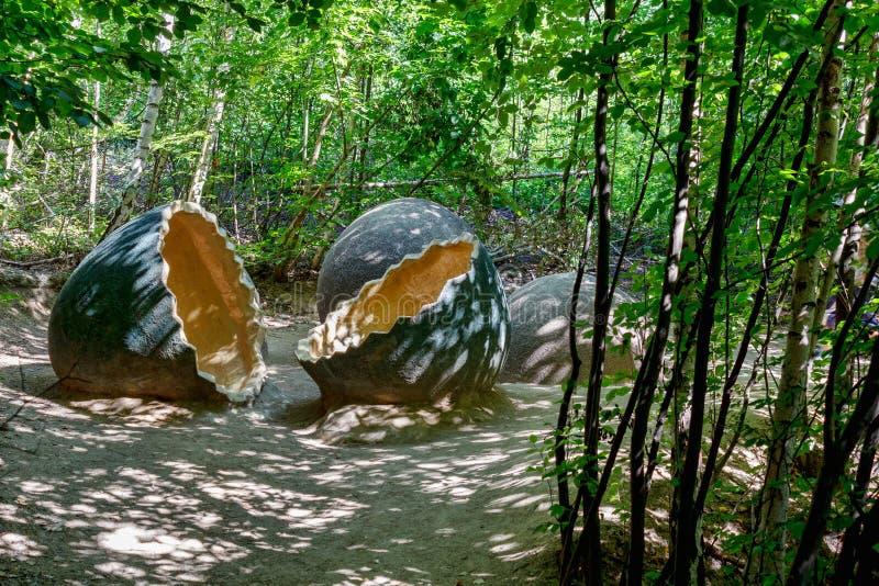 Förhistoriska dinosaurieägg i naturmiljö fotografering för bildbyråer