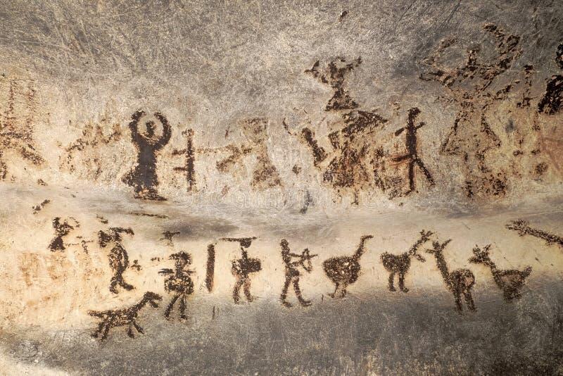 Förhistoriska målningar av den Magura grottan, Bulgarien arkivbild