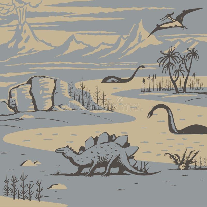 Förhistoriskt landskap royaltyfri illustrationer