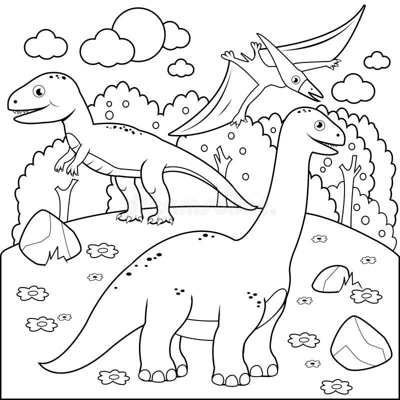 Förhistoriskt landskap med dinosaurier Svartvit sida för färgläggningbok stock illustrationer