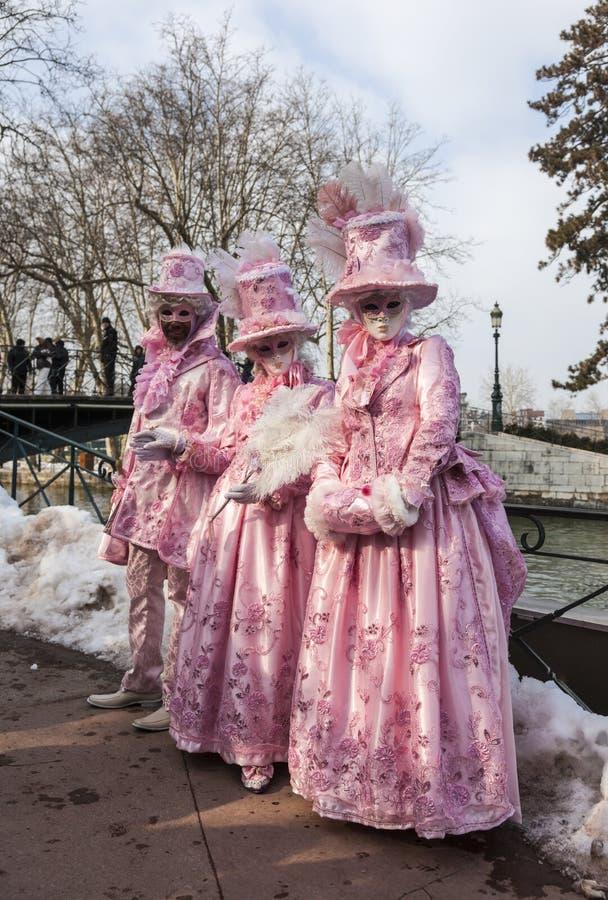 Förklädd grupp - Annecy Venetian karneval 2013 royaltyfria bilder